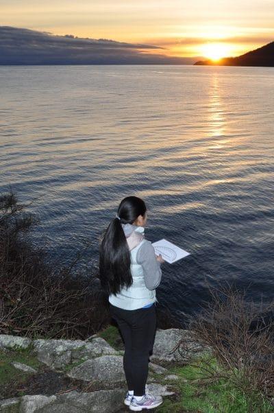 Porpoise observer Denise in Whytecliff Park