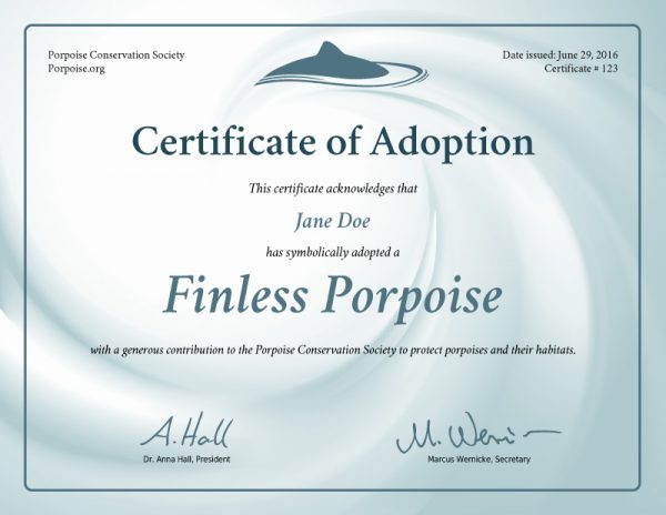 Finless Porpoise Adoption Certificate Preview